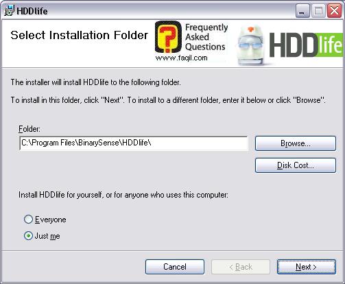 מסך מיקום יעד להתקנה, HDDlife