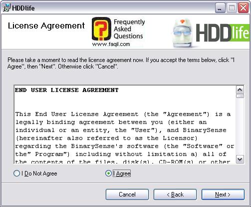 מסך הסכם הרישיון  להתקנה, HDDlife
