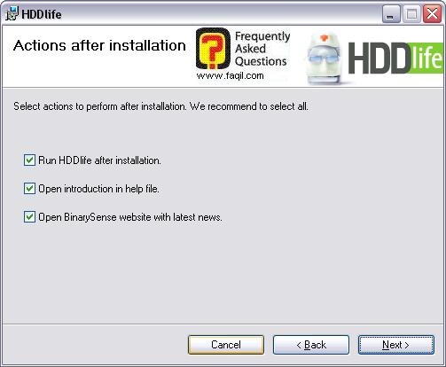 מסך הפעלת התוכנה לאחר התקנה, HDDlife