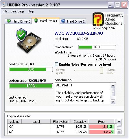 מסך   החלון הראשי של התוכנה, HDDlife