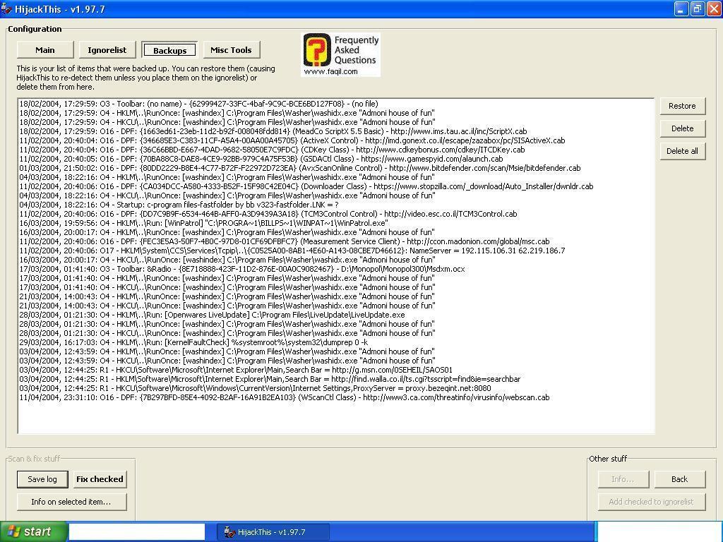 אפשרות backups, תוכנת hijackthis