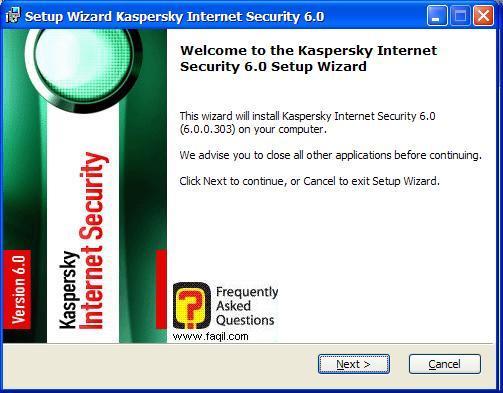 מסך ברוכים הבאים להתקנה, Kaspersky Internet Security 6