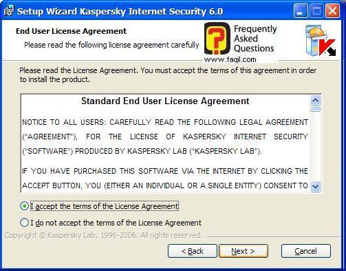 מסך תנאי שימוש להתקנה, Kaspersky Internet Security 6