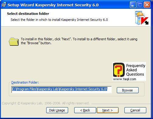 מסך מיקום היעד להתקנה, Kaspersky Internet Security 6