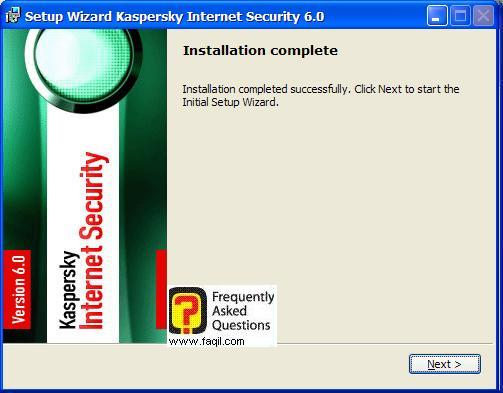 ההתקנה הושלמה, Kaspersky Internet Security 6