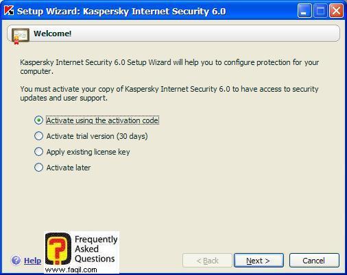 הודעה על כך, שהתוכנה לנסיון או הקשת הקוד הסיריאלי, Kaspersky Internet Security 6