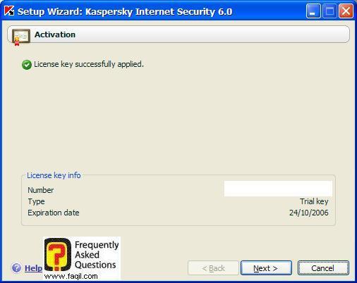 הודעה לכמה זמן השימוש בתוכנה, Kaspersky Internet Security 6