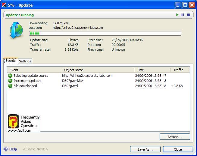 תחל ההורדה והתקנתו של העדכון, Kaspersky Internet Security 6