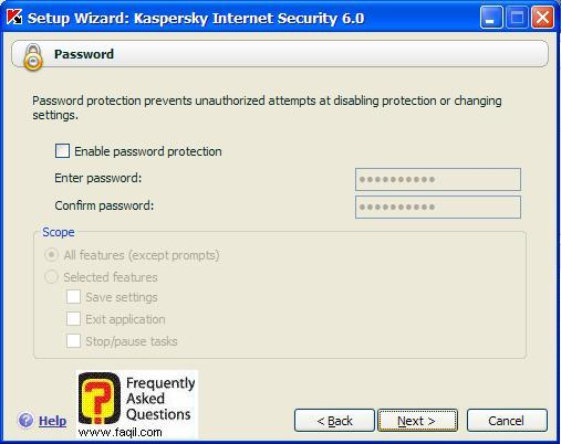 אם אתם מעוניינים בסיסמא , Kaspersky Internet Security 6
