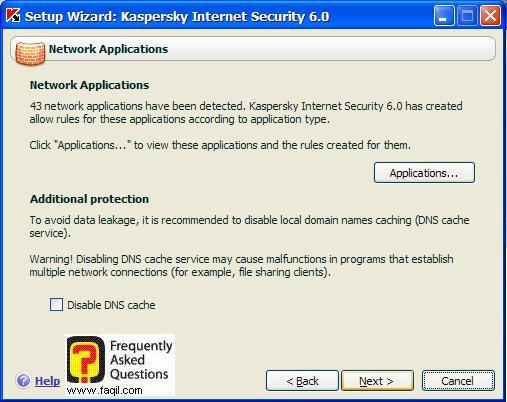 מודיע על מספר הישומים ברקע , Kaspersky Internet Security 6