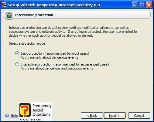 מודיע על כך , שזה יפעל באופן בסיסי, Kaspersky Internet Security 6
