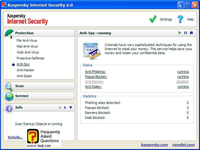הגדרות, Kaspersky Internet Security 6