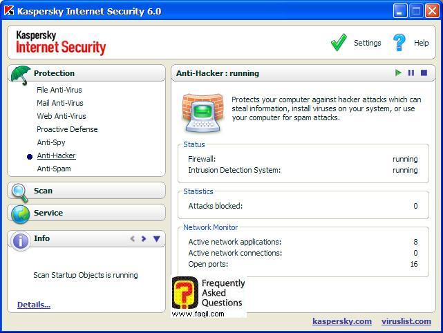 אנטי ספאיי: יופיע לכם מה נמנע, Kaspersky Internet Security 6