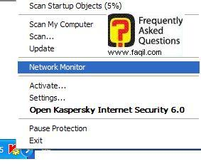 קליק ימני בעכבר על  Network Monitor של   Kaspersky Internet Security 6