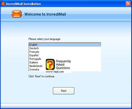 בחרו את שפת ההתקנה , תוכנת  Incredimail