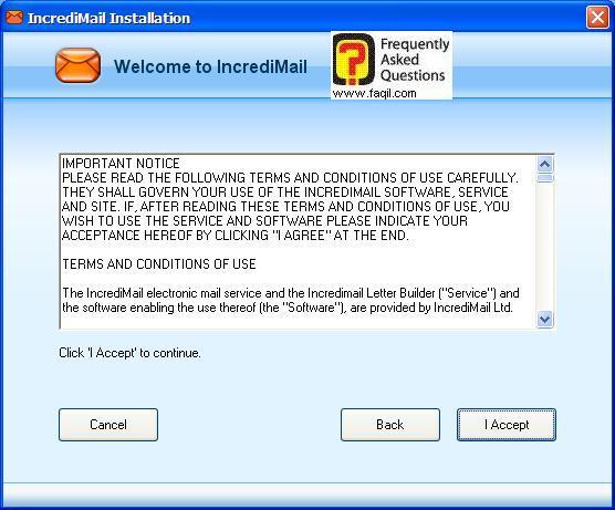 מסך תנאי שימוש , תוכנת  Incredimail