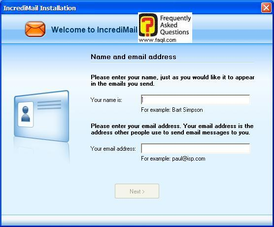 השם שלכם ואת האימייל שלכם לתוכנת הדואר , תוכנת  Incredimail