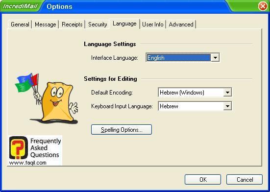 הגדרות שפות וקידוד , תוכנת  Incredimail