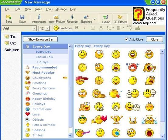 הוספת סמיילים, תוכנת  Incredimail