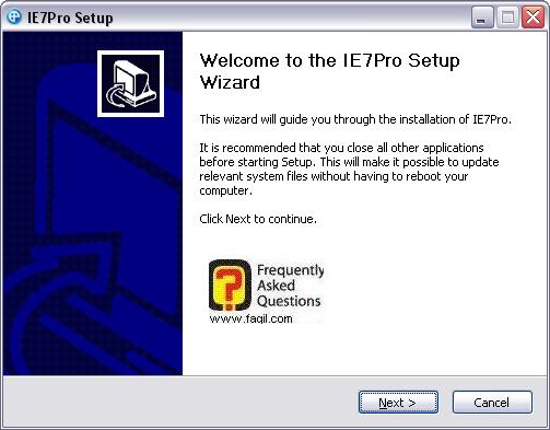 מסך ברוכים הבאים להתקנה,IE7PRO