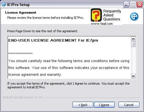מסך הסכם הרישיון  להתקנה,IE7PRO