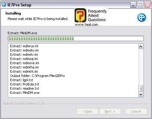 מסך ההתקנה החלה,IE7PRO