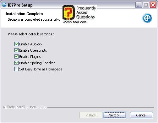 מסך אופציות השלמה,IE7PRO