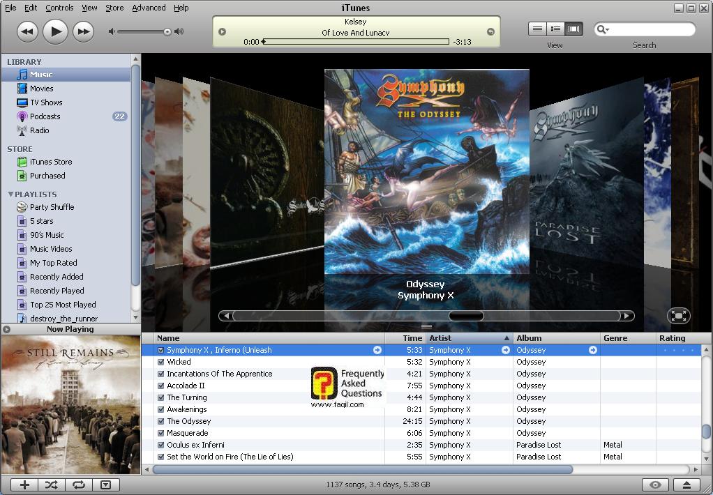 עמוד גירסה אחרונה של הנגן , iTunes