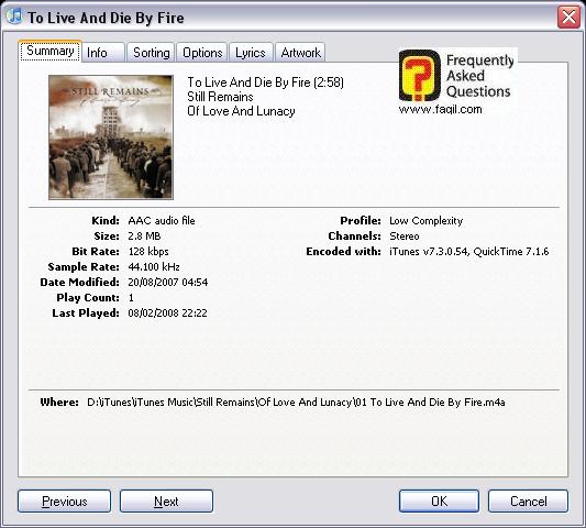 מסך השג מידע , iTunes