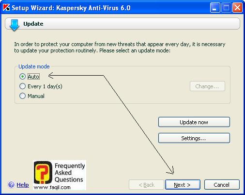עדכון אוטומטי , קספרסקי (Kaspersky) גרסא 6.0