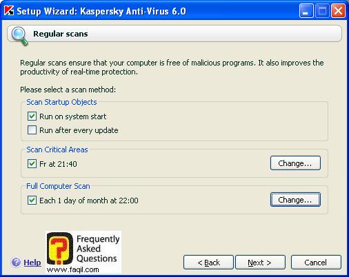 מסך התזמונים, קספרסקי (Kaspersky) גרסא 6.0