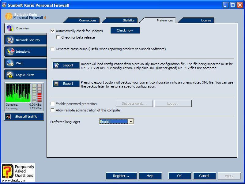 הגדרות התוכנה,חומת האש Kerio Personal Firewall
