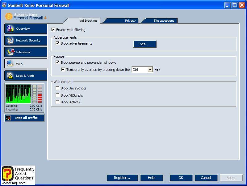 אפשרות Web,חומת האש Kerio Personal Firewall