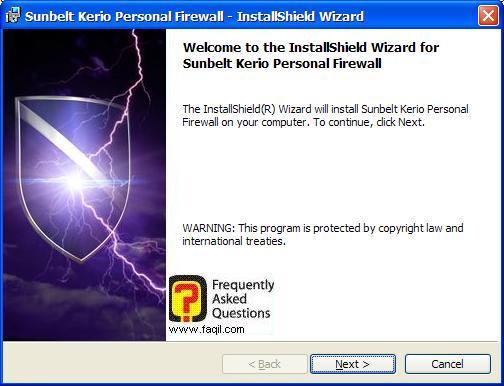 מסך ברוכים הבאים להתקנה,חומת האש Kerio Personal Firewall