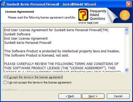 מסך תנאי שימוש להתקנה,חומת האש Kerio Personal Firewall