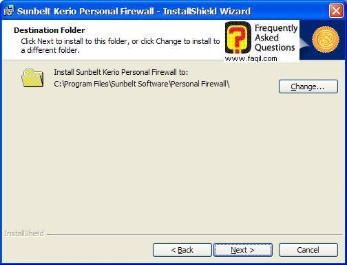 מסך מיקום היעד להתקנה,חומת האש Kerio Personal Firewall