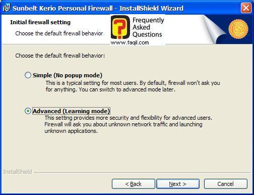האפשרות Advanced (מתקדם) בהתקנה,חומת האש Kerio Personal Firewall