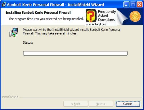 ההתקנה החלה,חומת האש Kerio Personal Firewall
