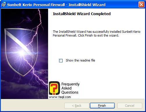 סיום ההתקנה,חומת האש Kerio Personal Firewall