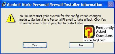 הפעלה מחדש של המחשב,חומת האש Kerio Personal Firewall