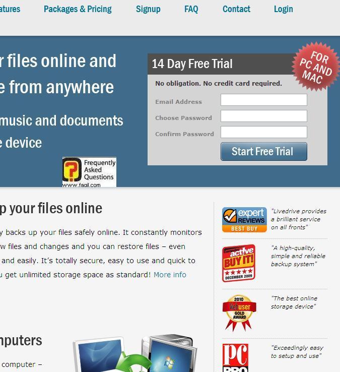 הרשמה לשירות אימייל וסיסמא, תוכנת LiveDrive