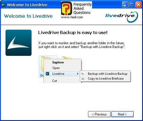 הסבר איפה ניתן לגבות, תוכנת LiveDrive