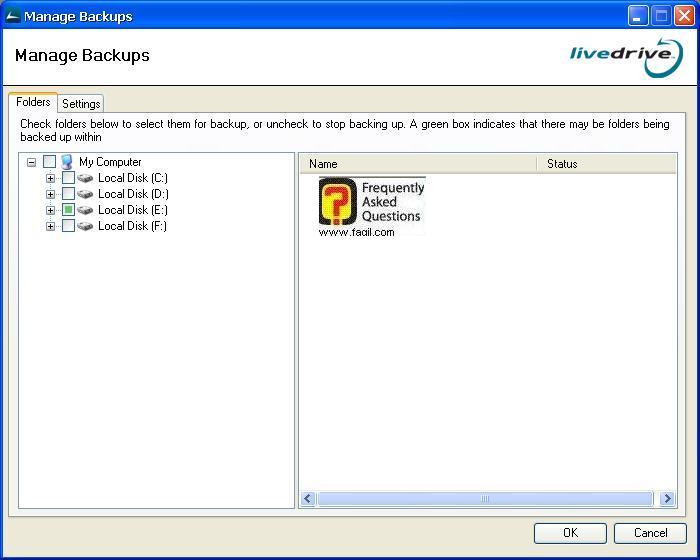 בחרו את הכונן והתיקיות לגיבוי, תוכנת LiveDrive