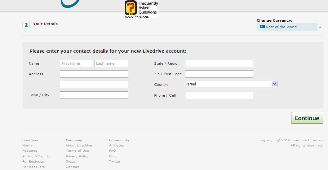 מילוי פרטים אישיים, תוכנת LiveDrive