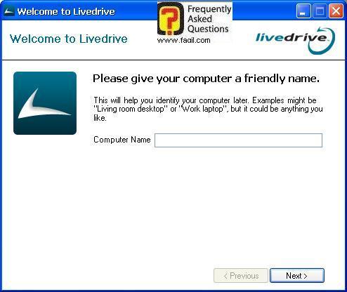 הקשת שם המשתמש שלכם במחשב, תוכנת LiveDrive