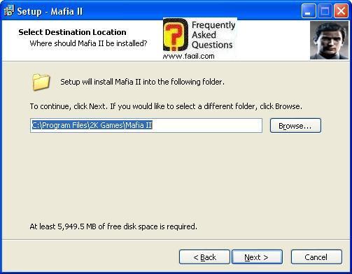 מסך מיקום היעד להתקנה,מאפיה 2 (Mafia ii)
