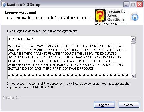 חלון הסכם הרישיון ,דפדפן מקסטון (Maxthon)