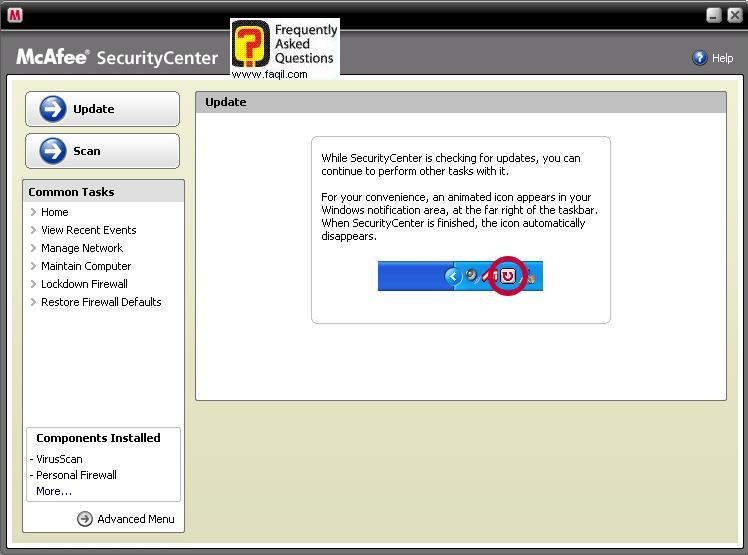 האנטיוירוס יתחיל להתעדכן ,מרכז האבטחה של מקאפי (Mcafee SecurityCenter)