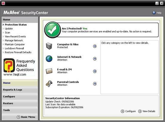הגדרות מתקדמות ,מרכז האבטחה של מקאפי (Mcafee SecurityCenter)