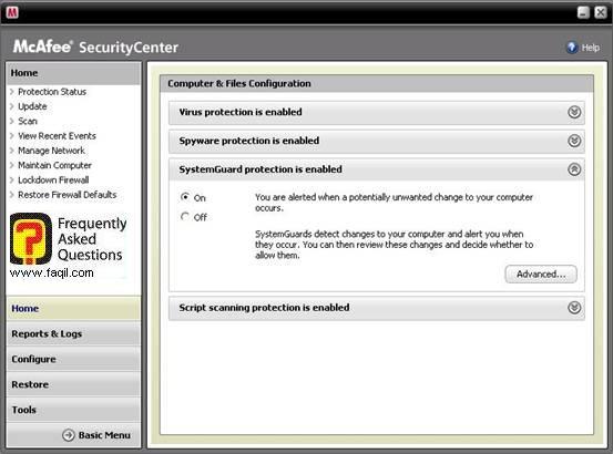 בית ,מרכז האבטחה של מקאפי (Mcafee SecurityCenter)